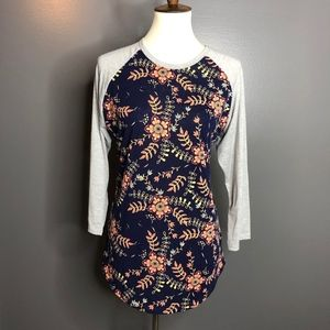 Navy Blue with Coral Flowers LuLaRoe Randy | Large